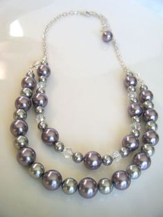 Mauve & grey pearls