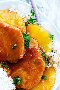 Slow Cooker Hawaiian Pork Chops   Creme de la Crumb