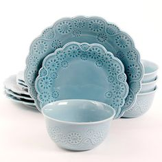 12-Piece Floral Shape Dinnerware Set in Turquoise