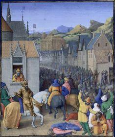 Entry into Jerusalem - very like a northern European town. Flavius Josèphe, Les Antiquités judaïques, enluminure de Jean Fouquet, vers 1470-1475 Paris, BnF, département des Manuscrits, Français 247, fol. 248 (Livre XII)