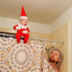 "This time the elf has gone too far. Tonight he waited until I had my eyes closed washing my face in the shower, then snuck up and started singing ""Joy to the World"" at the top of his lungs.  #rocktheelf #elfontheshelf"