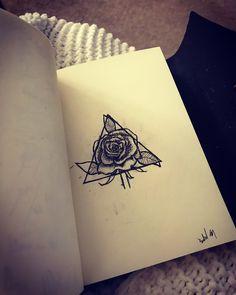 Triangle rose tattoo ink sketch