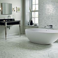 Easy bathroom decorating ideas - East Hampton white marble tiles from Fired Earth Glitter Bathroom, Marble Tile Bathroom, White Marble Bathrooms, Marble Tiles, Wall Tiles, Quartz Tiles, Subway Tiles, White Tiles, Bathroom Interior Design