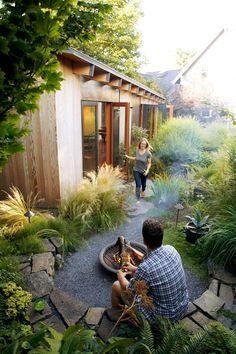 Favorite Backyard Sheds - Backyard artist& studio - Backyard Sheds, Backyard Retreat, Garden Sheds, Backyard Patio, Garden Path, Fire Pit In Garden, Backyard Studio, Backyard Plants, In The Backyard