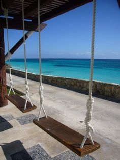 Swing, a drink and that beautiful water..sign me up