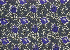 Flower print Lawn cotton dark blue/green