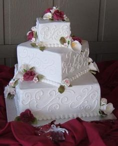 Three Tier Square Wedding Cakes All buttercream stencilled with
