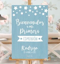 Cartel comunion azul Baptism Party, Boy Baptism, Candy Bar Comunion, Ideas Para Fiestas, Pizza Party, First Communion, Chinese New Year, Baby Boy Shower, Peace And Love