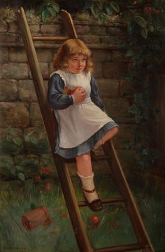 David W. Hadden They're Only Apples! Oil on Canvas 35 x 23 European Paintings, Apples, Oil On Canvas, 19th Century, David, Disney Princess, Disney Characters, Painted Canvas, Oil Paintings