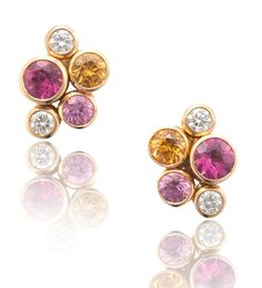 Raindance Watercolour Rose Gold Studs ~ A pretty, colourful pair of stud earrings set with 0.32ct of diamonds, 0.35ct of spinels, 0.71ct of mandarin garnets and 0.67ct of rubellites, in 18ct rose gold from the Raindance collection