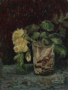 "Van Gogh: The Life on Twitter: ""#VanGogh of the Day: Glass with Yellow Roses, June-July 1886. Oil on canvas, 35 x 27 cm. @VanGoghMuseum, Amsterdam.… """