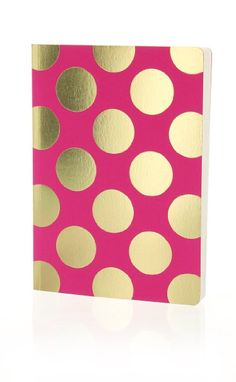 Shimmer Large Gold Polka - Magenta notebook - Go Stationery A5 Notebook, Gold Polka Dots, Pink And Gold, Magenta, Stationery, Pearls, Prints, Design, School