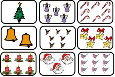 Number lotto boards with a Christmas theme