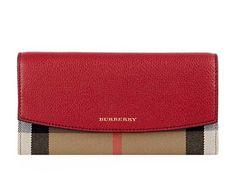 [バーバリー] Burberry Porter House Check And Leather Continental レディース長財布 Wallet 小銭入れ