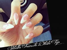 20 High Gloss Hand Painted Full Cover False Nails White French Tip Stiletto+Glue