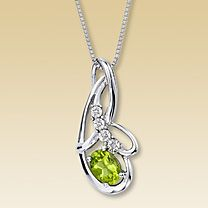 Sterling Silver Diamond & Peridot Necklace Peridot Jewelry, Peridot Necklace, Pendant Necklace, Silver Necklaces, Silver Rings, Bangle Bracelets, Bangles, My Birthstone, Diamond Are A Girls Best Friend