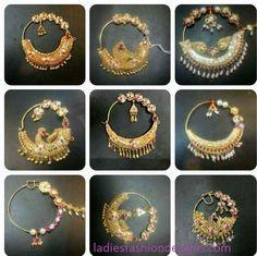 Beautiful Bridal Stylish Nose Ring with Long Chain Style - Fashion Beauty Mehndi Jewellery Blouse Design Nath Nose Ring, Nose Ring Jewelry, Bridal Nose Ring, Jewelry Design Earrings, Gold Earrings Designs, Gold Jewellery Design, Nath Bridal, Silver Jewellery, Jewelery