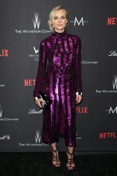 Diane Kruger en robe Nina Ricci de la collection printemps-été 2017 et minaudière Charlotte Olympia à la soirée des Golden Globes à Los Angeles