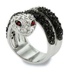 CZ Black Onyx Sterling Silver Snake Cocktail Ring