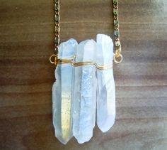Raw Crystal Necklace Vanilla Crystal Quartz Points by NaturalGlam