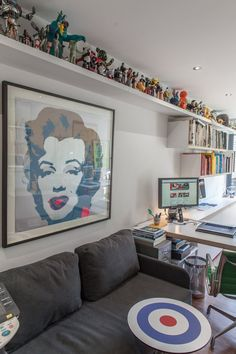 Paula & Paul's Lively London Home and Studio Name: Paula Benson and Paul West Location: Islington; London, UK Years lived in: 8 years; Toy Display, Display Shelves, Funko Pop Shelves, Lego Shelves, Lego Storage, Storage Hacks, Display Ideas, Ceiling Shelves, Lego Room