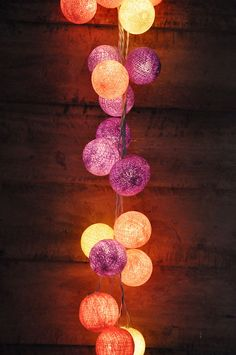 20 Bulbs Retro Purple Cotton ball string lights for by ginew, $11.50