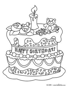 Cake Coloring Pages Enjoy The Birthday Page On Cakepins