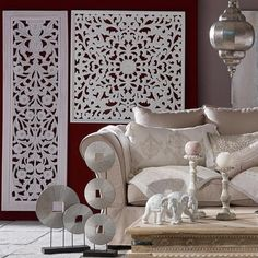 Living room furnishings, neutral color combination and ethnic interior decorating ideas