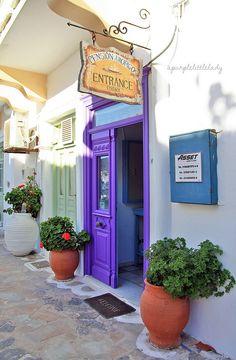 Purple door in Katapola, Grece