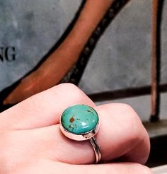 Large Natural Turquoise Ring, Sterling and Fine Silver Ring, Round Turquoise Statement Ring, Unisex Southwestern Ring, Free Shipping in USA
