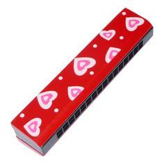 Szájharmonika (piros, szívecskés)