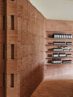 Mexican architect Frida Escobedo sourced rammed earth from her home country to form the rosy bricks that form walls in this Aesop store in Brooklyn. Wood Interior Design, Beautiful Interior Design, Beautiful Interiors, Brick Architecture, Interior Architecture, Organic Architecture, Residential Architecture, Contemporary Architecture, Pavilion Architecture