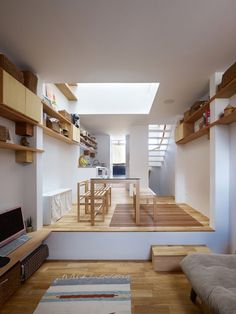 """interior-design-home: """"Tiny living room in a tiny house in Kobe, Japan. Japanese Living Room Design Ideas, Japanese Living Rooms, Tiny Living Rooms, Living Room Designs, Living Area, Japanese Tiny House, Japanese Style, Japanese Homes, Classy Living Room"""