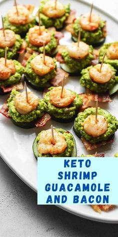 These keto appetizers will be a low carb fan favorite this football season! This buttery shrimp with savory bacon is not your average finger food! This creamy guacamole appetizer will be the top pick for a crowd at the football watch party! They'll never know it's keto friendly! Shrimp Appetizers, Low Carb Appetizers, Appetizer Recipes, Bacon Recipes, Low Carb Recipes, Buttery Shrimp, Game Day Food, Different Recipes, Finger Foods
