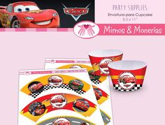 Cars Lightning McQueen Cupcake Wrapper - Digital Collage Sheet - Rayo McQueen - Birthday Party Digitals - Printable - INSTANT DOWNLOAD