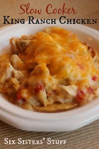 Six Sisters Slow Cooker King Ranch Chicken Recipe is our favorite dish! #sixsistersstuff