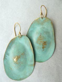 she sells sea shells :: mint patina medium drop earrings