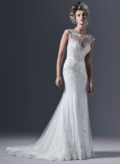 Sottero and Midgley by Maggie Sottero Glamorous tulle paired with intricate pearls and embellishments create this perfectly romantic sheath wedding dress, with a stunning illusi Lace Wedding Dress, Wedding Dresses For Girls, Wedding Dresses Photos, Perfect Wedding Dress, Wedding Dress Styles, Designer Wedding Dresses, Bridal Dresses, Wedding Gowns, Bridesmaid Dresses