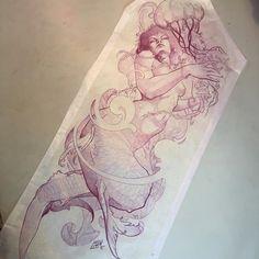 Mermaid Artwork, Mermaid Drawings, Mermaid Tattoos, Tattoo Sketches, Tattoo Drawings, Body Art Tattoos, Sleeve Tattoos, Tattoo Art, Tattoos Mandala