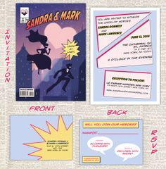 A companion to the previous Superhero Save the Date: the Comic Book Wedding Invitation Set! DIY printable by AwkwardAffections Book Wedding Invitations, Digital Invitations, Wedding Stationary, Printable Invitations, Invites, Printables, Comic Book Wedding, Wedding Book, Wedding Cards