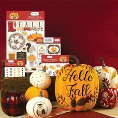 """Have you checked out our autumn collections? The """"Hello Fall"""" collection from Carta Bella includes stunning fall images and icons. The pumpkins shown here were hand-painted and inspired by the patterns in this gorgeous collection. This release is in stores now so be sure to grab it while you can!"""