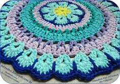 "Carpet ""African flower"" from tape or football yarn Crochet Carpet, Crochet Fabric, Fabric Yarn, Crochet Mandala, Crochet Home, Love Crochet, Crochet Doilies, Knit Crochet, Crochet Wall Art"