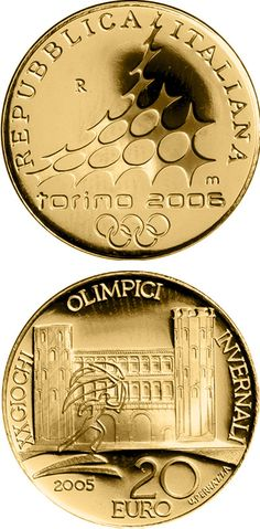 N♡T.20 euro: XX. Olympic Winter Games 2006 in Turin - Porte Palatine.Country: Italy Mintage year:2005 Face value:20 euro Diameter:21.00 mm Weight:6.45 g Alloy:Gold Quality:Proof Mintage:10,000 pc proof