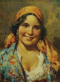 A Gypsy Girl by A Villone, 16x12 Oil Painting