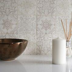 U0027Moroccan Tileu0027 Geometric Tile Effect Wallpaper In Grey, Beige, Cream White