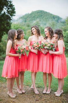 Wedding color palette: ivory, coral, peach and deep burnt sienna | See the wedding on SMP: http://www.StyleMePretty.com/2014/03/04/coral-wedding-at-mountain-magnolia-inn/ D'Arcy Benincosa Photography