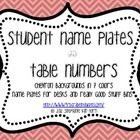 A HUGE file full of chevron items to help snazzy up your classroom!Included are:- Table Numbers (1-8)- Name Plates for desks with lines and das...
