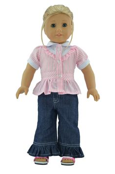18'' American Girl Doll Clothes:Pink Blouse Top&Denim Jeans for 18'' doll clothes, 18'' doll outfit, American Girl Outfit #1125 on Etsy, $9.99