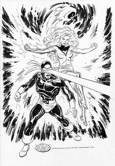 "johnbyrnedraws: ""Cyclops & Phoenix commission by John Byrne. Comic Book Artists, Comic Artist, Comic Books Art, Marvel Comics, Marvel Dc, Jean Grey Phoenix, Dark Phoenix, Phoenix Marvel, Star Trek"
