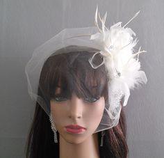 Bridal Fascinator, Ivory Feather Crystal Bridal Headpiece, Crystal Rhinestones Women's Ivory Fascinator by IrmasElegantBoutique on Etsy